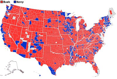 2004 US presidential election result by county