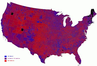 2004 US election result in shades of purple