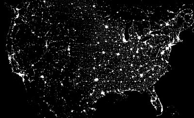 USA by night seen from space
